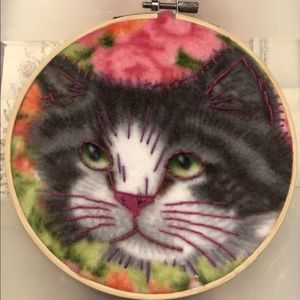 Fuzzy cat embroidery hoop wall hanging art